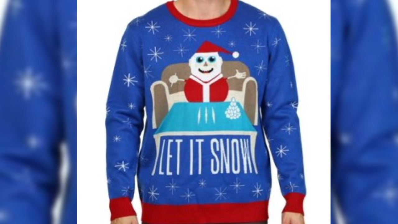 Snow, no, no! Walmart Christmas sweater features Santa with