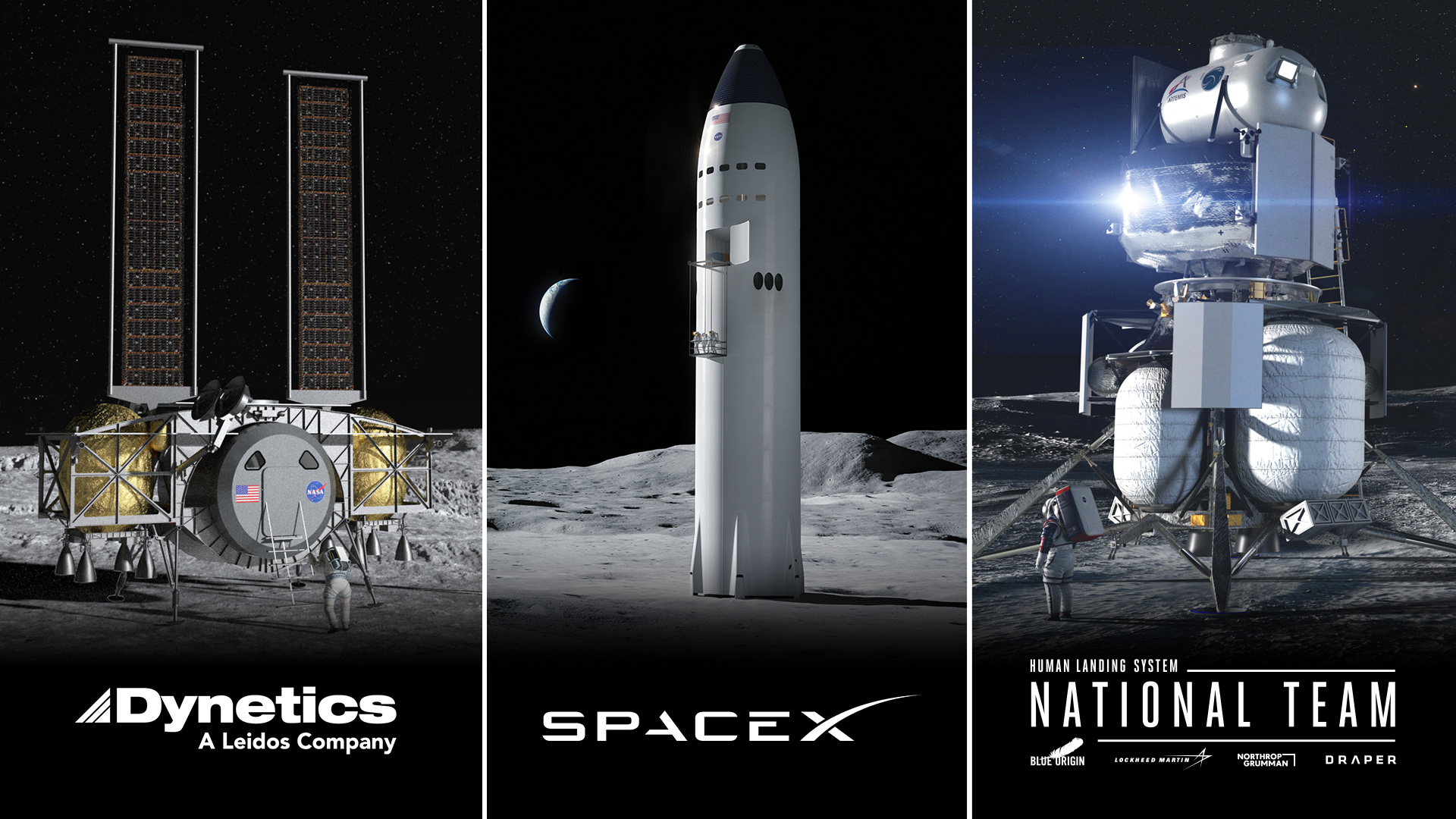 Spacex Blue Origin Dynetics Selected To Send Astronauts Back To Moon For Nasa