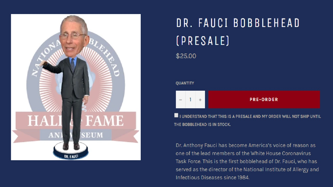 Fauci Facepalm Bobblehead LIMITED EDITION OF 2020 BLUE TIE  ***SOLD OUT*** Dr